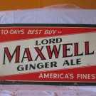 "VINTAGE c. 1940 LORD MAXWELL GINGER ALE SODA POP BOTTLE 23"" EMBOSSED METAL SIGN"