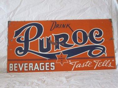 "VINTAGE c. 1940 PUROC BEVERAGES SODA POP 24"" METAL SIGN-ORIGINAL"