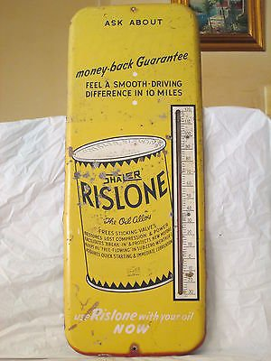 "VINTAGE 1950's RISLONE MOTOR OIL 26""  METAL THERMOMETER SIGN-ORIGINAL"
