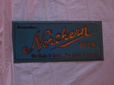 """VINTAGE c. 1940 NORTHERN BEER WISCONSIN 13"""" EMBOSSED  METAL SIGN-ORIGINAL"""