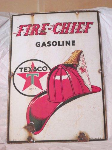 "VINTAGE 1940 TEXACO FIRE CHIEF GASOLINE GAS PUMP PLATE 18"" PORCELAIN METAL SIGN"