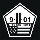 2 PACK of Custom 9-11-01 NEVER FORGET Vinyl Decals