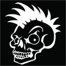 2(TWO) Pack of Custom Mohawk Skull Vinyl Decals / Stickers