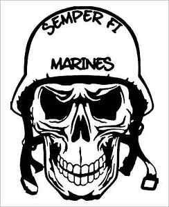 "2 Pack of Custom ""USMC Helmet Skull"" Vinyl Decals / Stickers"
