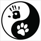 Yin Yang Palm & Paw  Printed Vinyl Decal / Sticker