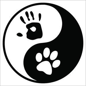 Yin Yang Palm & Paw  Printed Vinyl Decal / Sticker