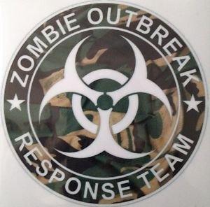 Zombie Outbreak Response Team Camo Vinyl Decal / Sticker