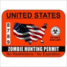 Zombie Hunting Permit - United States Vinyl Decal / Sticker