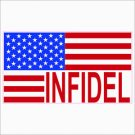 USA Infidel Flag Printed Vinyl Decal / Sticker