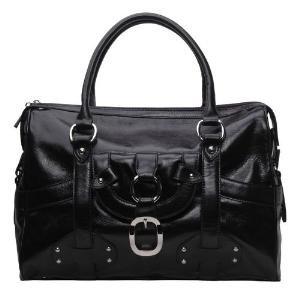 Alexandra Jordan Black Leather Luggage Style Tote