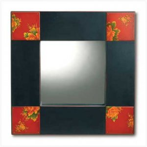 BLACK & RED PAINTED MIRROR