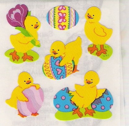 Chicks with Easter Eggs