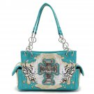 Cross & Wings Concealed Carry Handbag - AQUA