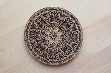 Greek design laser engraved cork coasters - set of 4