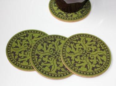 Floral design laser engraved cork coasters - set of 4