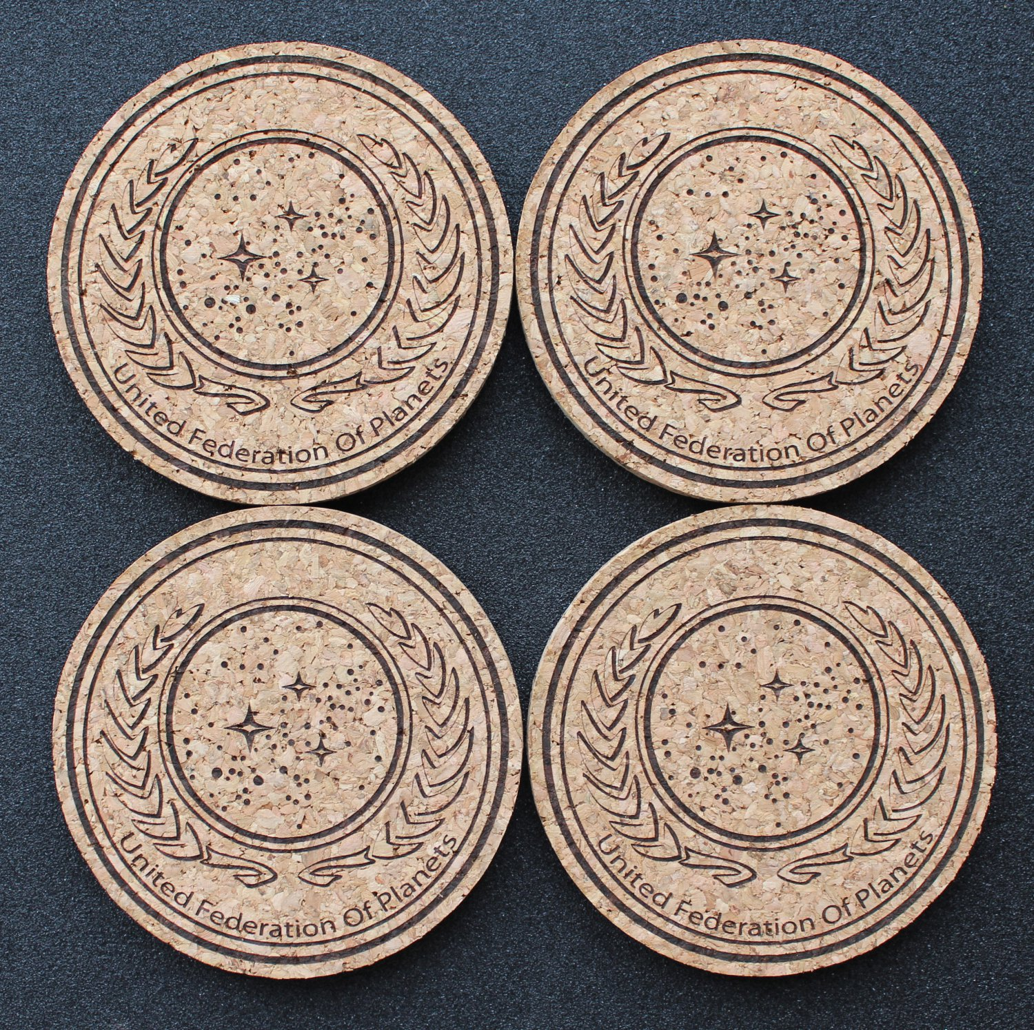 United federation of planets laser engraved cork for Best coasters for sweaty drinks