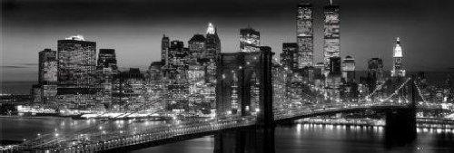 New york manhattan night poster 36x12 for Credence new york noir et blanc