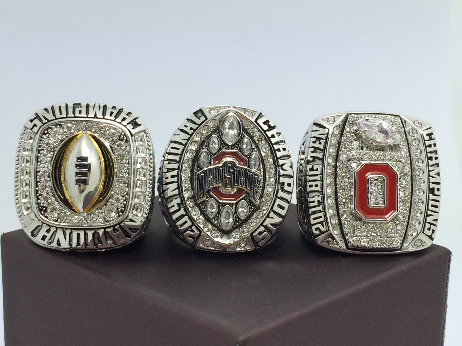 One Set 3PCS 2014 2015 Ohio State Buckeyes National Championship Ring 8-14 Size With wooden box