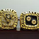 One Set 2 PCS 1991 1992 Pittsburgh Penguins Hockey Stanely Cup Championship rings wooden case