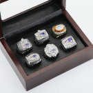 6PCS 1985 2001 2003 2004 2007 2011 New England Patriots championship ring 10-13S with wooden case