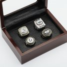 4PCS 1966 1967 1996 2010 Green bay packers Championship Ring 10-13 Size with wooden case
