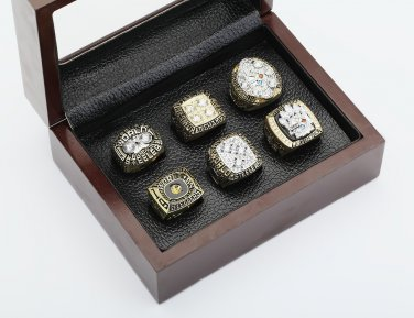 6 PCS 1974 1975 1978 1979 2005 2008 Pittsburgh Steelers Rings 10-13S with wooden box
