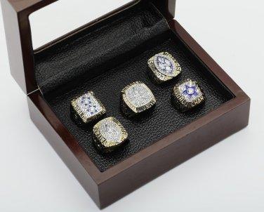 5PCS One Set 1971 1977 1992 1993 1995 Dallas Cowboys Championship Ring 10-13 Size +box