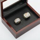 One Set 2PCS 1997 1998 Denver Broncos Championship Rings 10-13 Size with wooden case