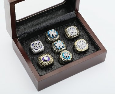 7pcs 1977 1978 1996 1998 1999 2000 2009 New York Yankees world series Rings Size 10-13 +wooden case