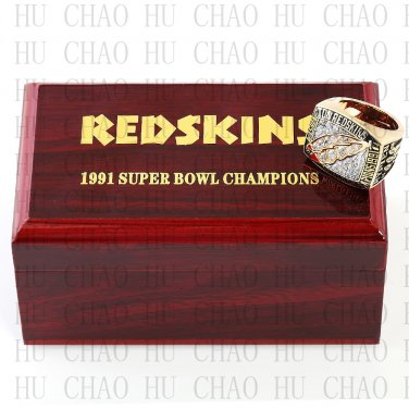 Team Logo wooden case 1991 Washington Redskins super bowl Ring 10-13 Size to choose
