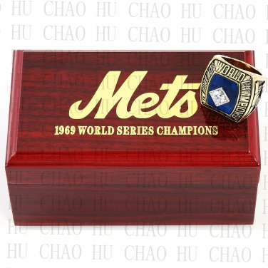 1969 New York Mets MLB Championship Ring 10-13 Size with Logo wooden box