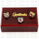 One Set 1982 2006 2011 St. Louis Cardinals MLB Championship Ring 10-13 Size with Logo wooden box