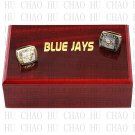 One Set 2 PCS 1992 1993 TORONTO BLUE JAYS MLB Championship Ring 10-13 Size with Logo wooden box