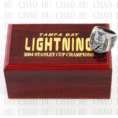 2004 Tampa Bay LIGHTNING NHL Hockey Championship Ring 10-13 Size with Logo wooden box