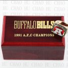 1991 Buffalo Bills AFC Football world Championship Ring 10-13 Size with Logo wooden box