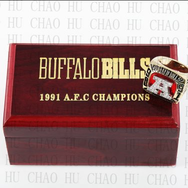 1991 Buffalo Bills AFC Football world Championship Ring 10-13 Size with Logo wooden box