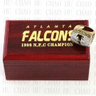 1998 Atlanta Falcons NFC Football world Championship Ring 10-13 Size with Logo wooden box