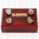 SET 4PCS 1992 2009 2011 2012 Alabama Crimson Tide NCAA Championship Rings 10-13S + Logo wooden box
