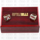 2PCS Sets 1991 1993 Buffalo Bills AFC Football world Championship Ring 10-13S+ Logo wooden box
