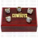 5PCS Set 1971 1977 1992 1993 1995 Dallas Cowboys Football Championship Ring 10-13S+ Logo wooden box