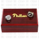 2PCS Sets 1980 2008 PHILADELPHIA PHILLIES MLB Championship Ring 10-13 Size with Logo wooden box
