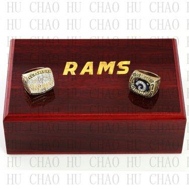 2pcs Set 1979 1999 St Louis Rams Football championship Rings 10-13S+ Logo wooden box