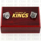 Set 2 PCS 2012 2014 Los Angeles La Kings Hockey championship Rings 10-13S+ Logo wooden box