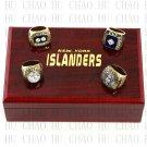 Set 4 PCS 1980 1981 1982 1983 New York Islanders NHL Hockey Ring 10-13S +Logo wooden box