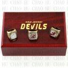 3PCS Sets 1995 2000 2003 New Jersey Devils NHL Hockey Championship Ring 10-13s+Logo wooden box