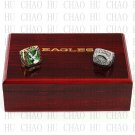 2pcs 1980 2004 PHILADELPHIA EAGLES NFC Football world Championship Ring 10-13S+ Logo wooden box