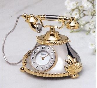 Bulova Miniature Clock Antique Telephone B0431