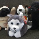 "Lot of 4 TY Plush Dogs ""BRUNO"", ""GIGI"", ""NANOOK"", & ""PUGSLY"""