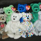8 RETIRED BEANIE BABY BEARS: FORTUNE, KICKS, CLUBBY, ERIN,1999 SIG, HALO, TY 2K, THE BEGINNING