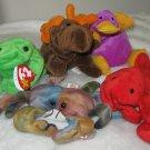 "Lot of 5 (five) beanie babies, ""Legs"", ""Pinchers"", ""Claude"", :Chocolate"", ""Patti"""